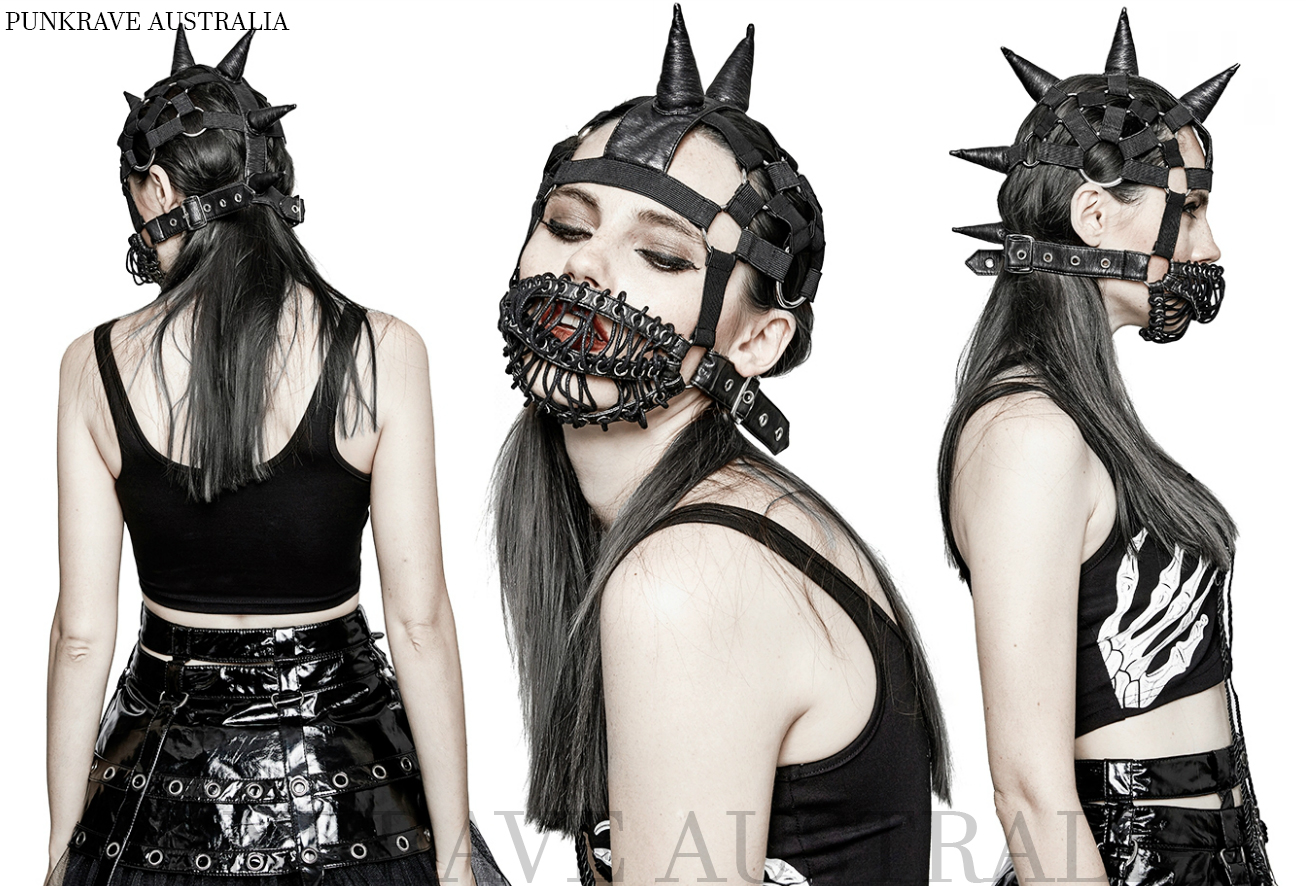 a746e738d11 Punk Rave S-201 Ladies Steampunk Spiked Beanie Hat with Wire Cage Mask